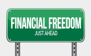 financial freedom street sign illustration design over white